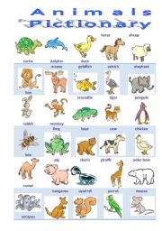 English Worksheet: Animals 1/3 Pictionary
