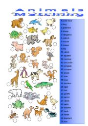 English Worksheets: Animals 2/3 Matching exerice