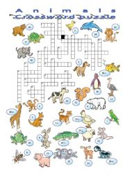 English Worksheets: Animals 3/3 crossword puzzle
