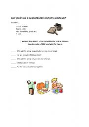 English Worksheet: American Culture - Peanut Butter & Jelly Sandwich