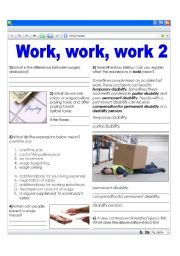 Work related vocabulary - money and accidents (+ key)