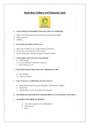 Printables Etiquette Worksheets english teaching worksheets etiquette auzzie culture and quiz