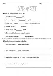 English Worksheets: And or But