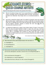 English Worksheets: Chameleons: Quick-Change Artists