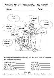 Family Members Worksheet For Kindergarten Pdf