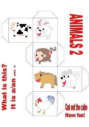 English Worksheets: LOVELY ANIMALS CUBE 2