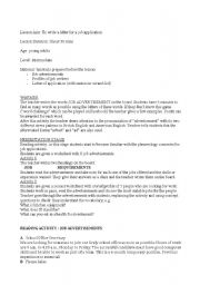 English Worksheet: Complete lesson plan for writing a letter to apply for a job