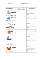 English Worksheets: Zodiac signs and adjectives