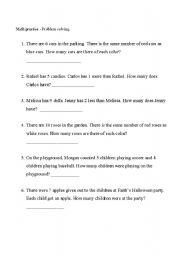 English Worksheets: Math problem solving