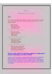 English Worksheets: Generalising