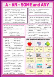 English Worksheet: A - An - some - Any