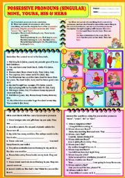 English Worksheet: Possessive Pronouns (Singular) - Mine, yours, his and hers