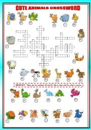 English Worksheet: cute animals crossword