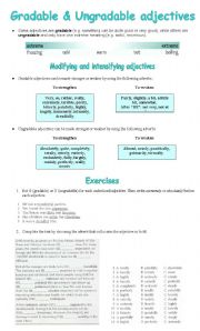English Worksheet: gradable and ungradable adjectives exercises