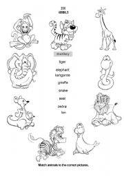 English Worksheet: ZOO ANIMALS part I