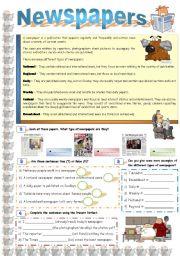 English Worksheet: Newspapers
