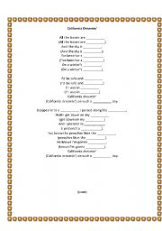 English Worksheets: California Dreamin� Jigsaw
