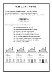 English Worksheets: Who Lives Where?