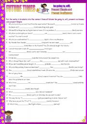 English Worksheet: Future times: be going to, will, present simple and present continuous