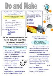 English Worksheet: Do and make
