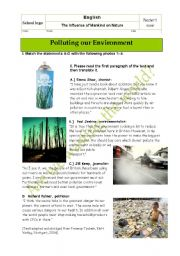 Written test/oral exam: How mankind is polluting our environment