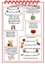 English Worksheet: VALENTINE RHYMES