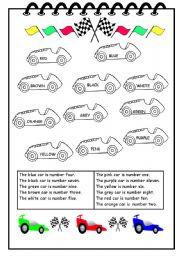english worksheet colour car race. Black Bedroom Furniture Sets. Home Design Ideas