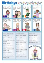 ENGLISH-SPEAKING COUNTRIES (22) - Birthdays