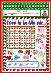 English Worksheet: LOVE IS IN THE AIR