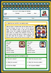 English Worksheets: PERSONAL INFORMATION -TEST (PAGES 1 AND 2)