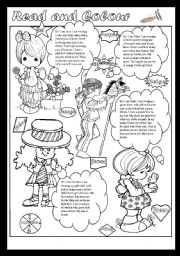 English Worksheet: Read and Colour(editable)