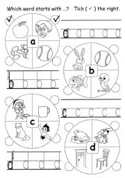 English Worksheets: Which word starts with ...�H