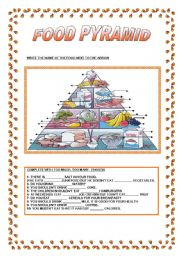 English Worksheet: FOOD PYRAMID