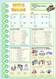 English Worksheets: WAS WERE - past simple to be