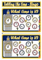 English Worksheet: TELLING THE TIME - BINGO (SET 1)