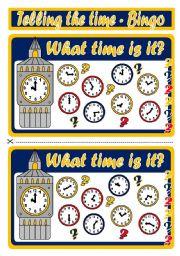 English Worksheet: TELLING THE TIME - BINGO (SET 2)