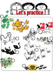 English Worksheets: How many animals do you see?