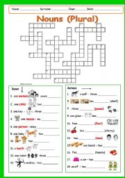 English Worksheet: NOUNS (PLURAL) Part 2 (key included)