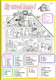English Worksheet: my sweet home (1/3)