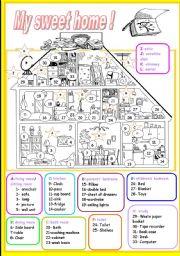 English Worksheet: my sweet home (1/3)