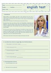 English Worksheets: 7th Grade Test - Free Time Activities - Britney Spears