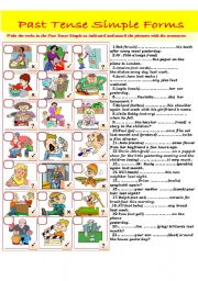 English Worksheet: Past Tense Simple -affirmative, negative and interrogative forms