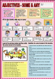 English Worksheet: Adjectives - Some & Any