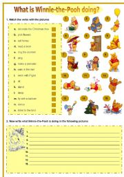 English Worksheets: Present Continuous with Winnie-the-Pooh
