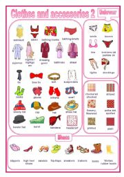 English Worksheet: Clothes and accessories 2: a pictionary (editable)