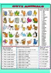 English Worksheets: CUTE ANIMALS WITH KEY-black and white version included