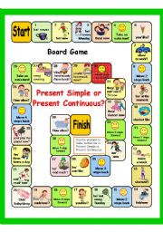English Worksheet: PRESENT SIMPLE vs PRESENT CONTINUOUS (game + key)