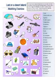 English Worksheets: Lost on a desert island 1/3: Vocabulary - Matching exercise