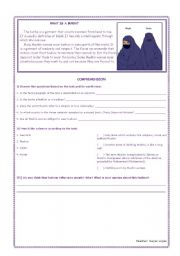 English Worksheets: What is a burka?