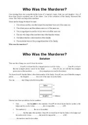 English Worksheets: Who Was the Murderer?